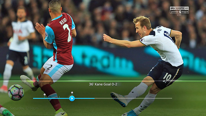Image of a Premier League football match with the progress bar showing key moments in the match
