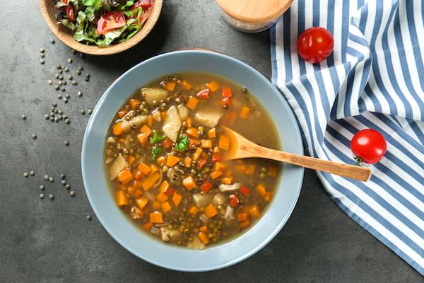 Plant based vegan lentil soup