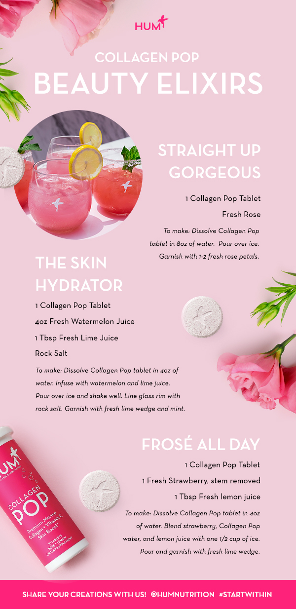 HUM Collagen Pop Mocktail Beauty Elixirs - Recipes - The Wellnest by HUM Nutrition