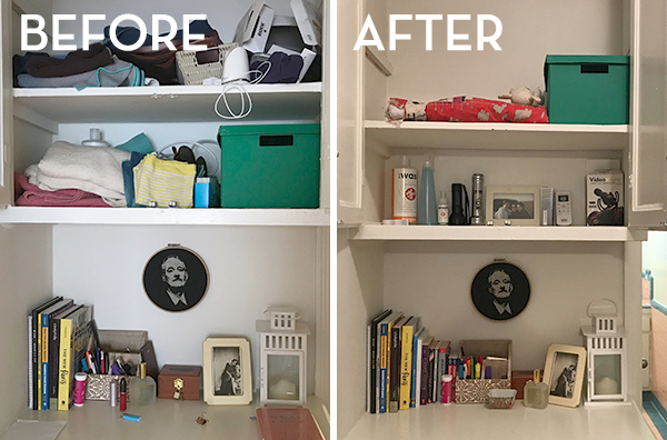 KonMari Shelves Before & After - The Wellnest by HUM Nutrition