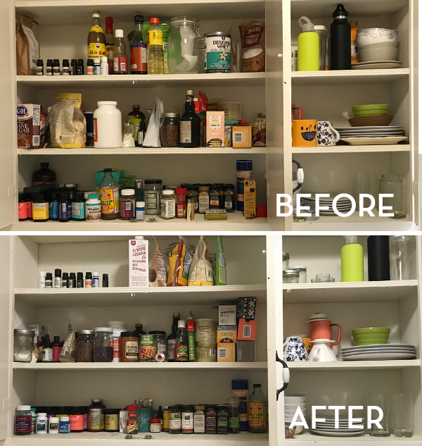 KonMari Pantry Before & After - The Wellnest by HUM Nutrition