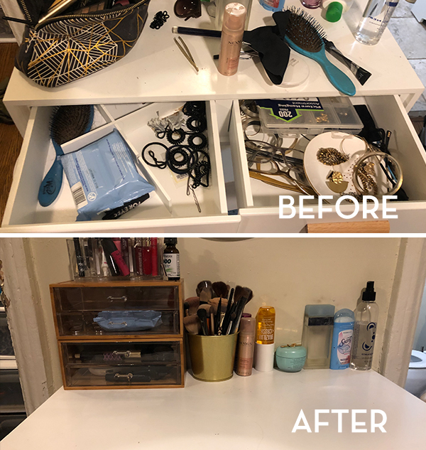 KonMari Vanity Before & After - The Wellnest by HUM Nutrition