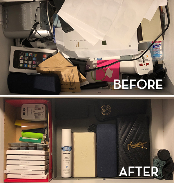 KonMari Desk Before & After - The Wellnest by HUM Nutrition