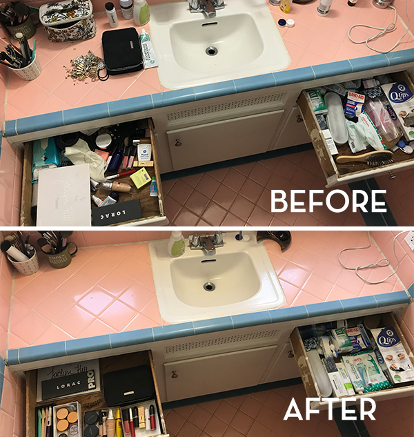 KonMari Bathroom Before & After - The Wellnest by HUM Nutrition