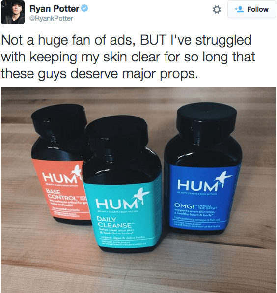 Ryan Potter's Acne Solution - The Wellnest by HUM Nutrition