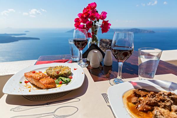 Mediterranean Diet plate with a view