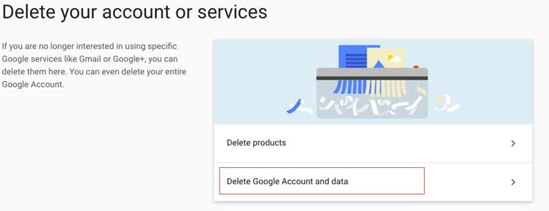 Delete Gmail Account and Data screen Image