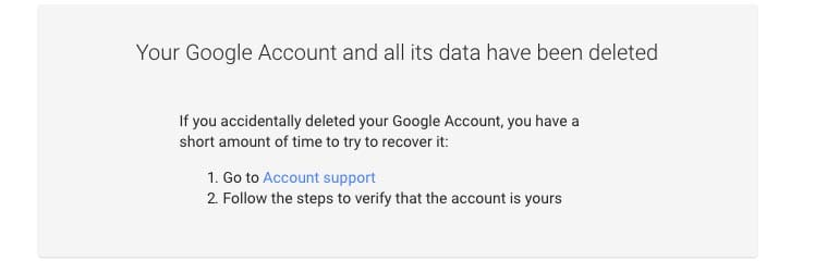 Gmail Account Deleted Screen Image