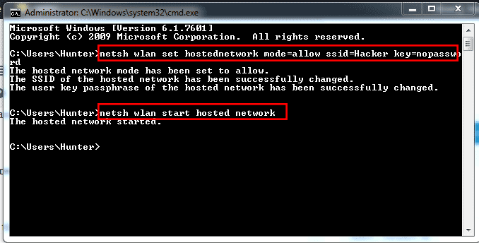 created successfully wifi hotspot in windows with CMD screenshot image