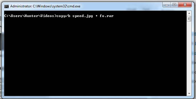 cmd code of hiding zip file into image.