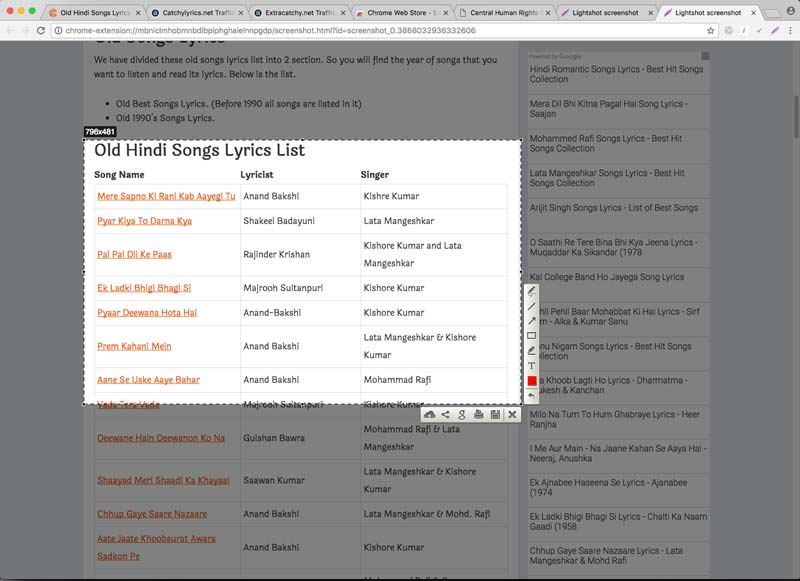 Taking Screenshot of Old Songs List at http://catchylyrics.net image
