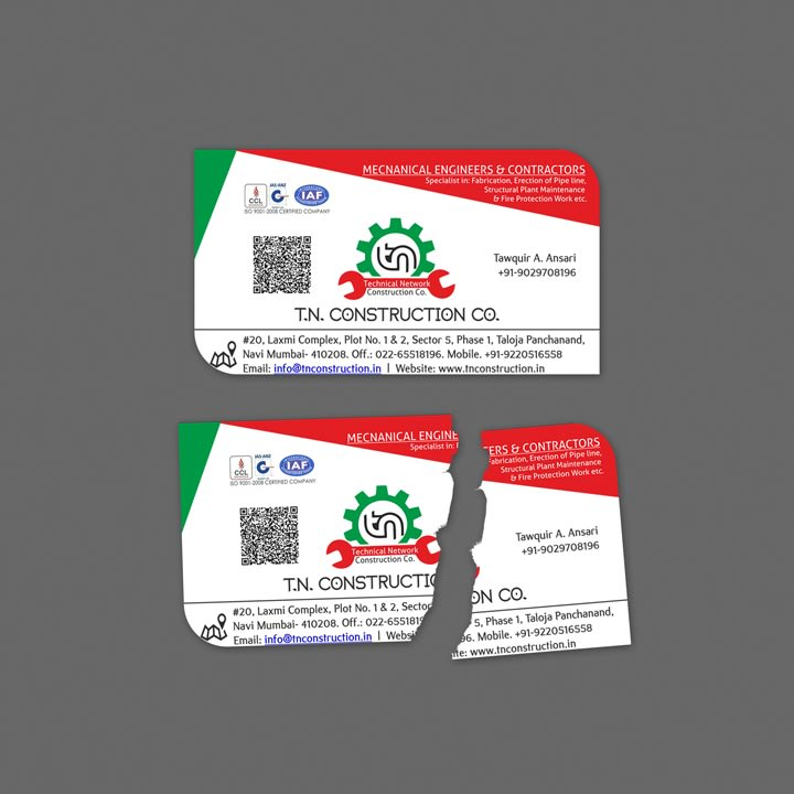 TN Constructions Business Card Image