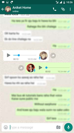 Whatsapp Voice Message Screenshot