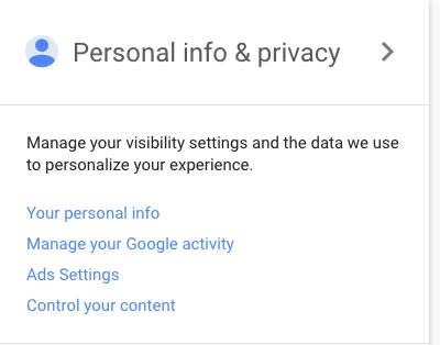 Personal info & Privacy Screen of Google Account Image