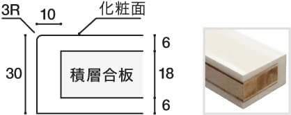 鏡面人工大理石天板マーブル柄 断面図