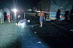 Big car crashes on narrow side of road