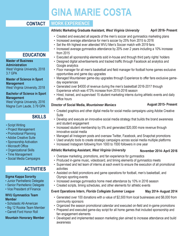 hi everyone - Marketing Graduate Resume
