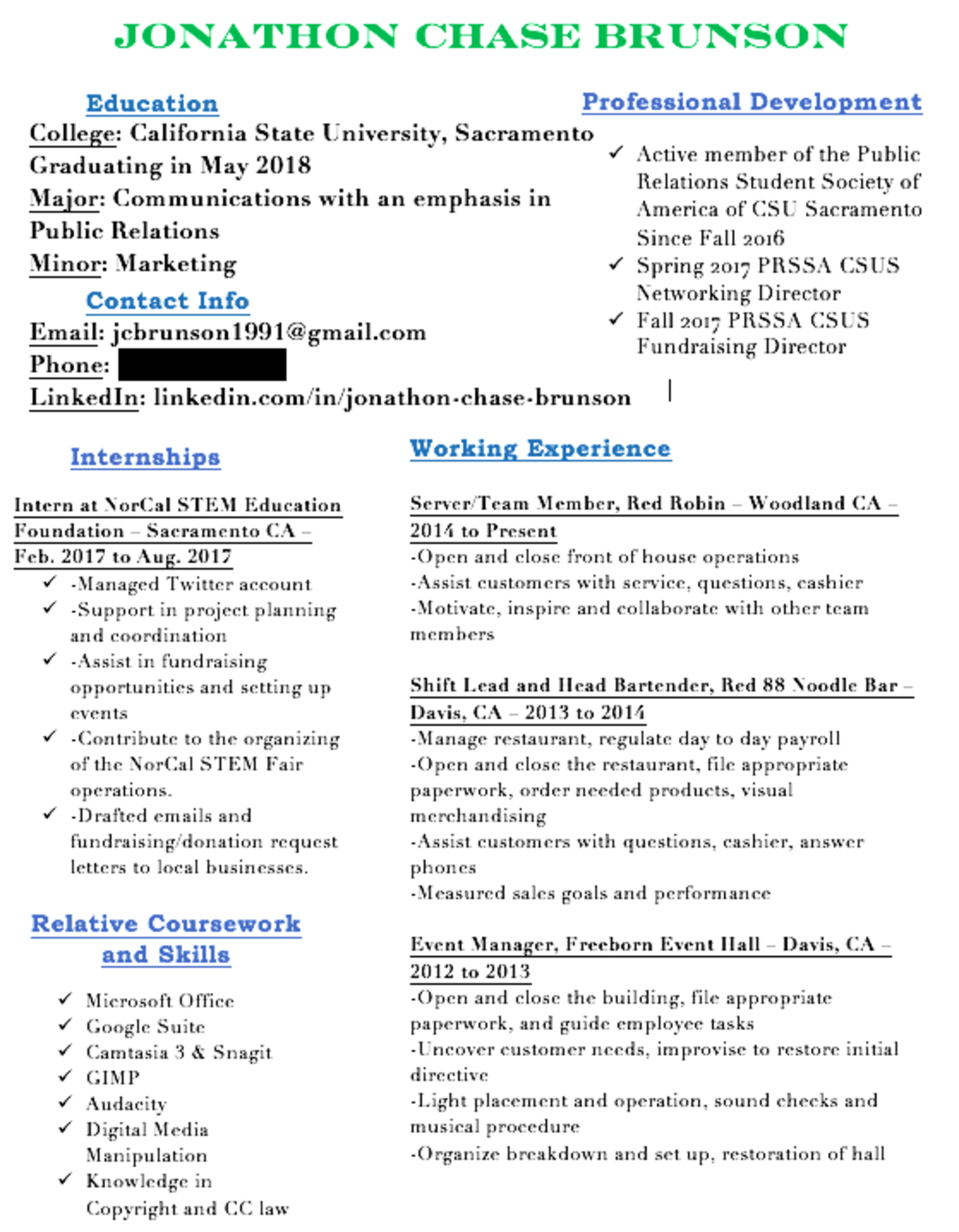 public relations student s resume huttle