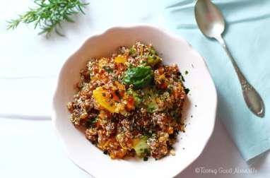 Quinoa à la courge butternut rôtie et choux de Bruxelles