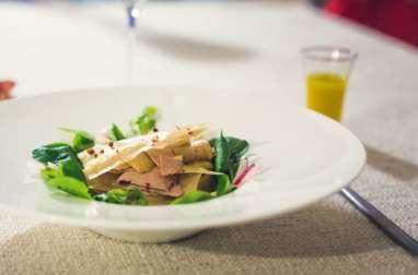 Millefeuille automnal de foie gras et poires aux épices