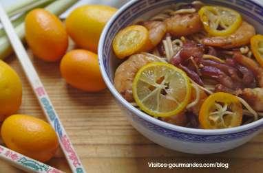Pâtes chinoises aux crevettes goûts agrumes kumquat, lemonquat et citronnelle