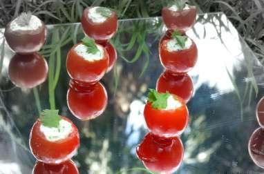 Tomates cerises farcies à la mousse de pesto de coriandre