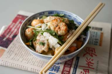 Wok de porc crevettes et langoustines