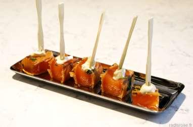 Tataki de saumon au fromage bleu