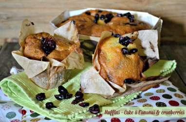 Muffins et cake à l'ananas et cranberries