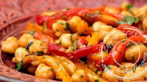 Salade De Pois Chiches Et Poivrons A La Marocaine Recette Par
