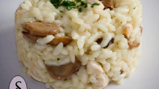 Risotto au poulet et aux champignons - Recette par Senteur ...
