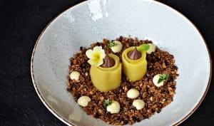 Dessert chocolat, mangue, noisette, crème advocaat