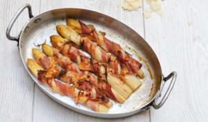Asperges blanches au bacon et parmesan