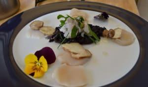 Carpaccio de noix Saint-Jacques et cépes à l'huile d'argan, tartare de langoustine sur lit de nori