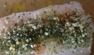 Dos de cabillaud rôti aux herbes de Provence, curry Indien et paprika doux