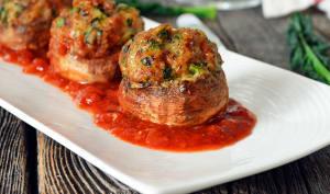 Champignons Farcis à la Saucisse, Kale et Cheddar