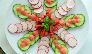 Carpaccio de radis et concombre, vinaigrette rose