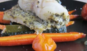 Roulés de sandre au pesto verde et ses légumes rôtis