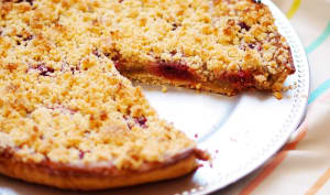 Tarte rhubarbe - framboises façon crumble