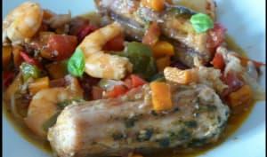 Roussette, Crevettes et gelée de piment de d'Espelette
