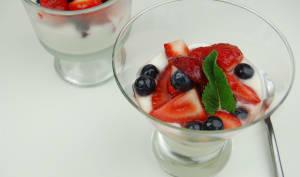 Dessert fraises et yaourt