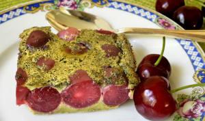 Clafoutis aux cerises et au thé Matcha