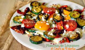 Plancha de légumes grillés et œufs au paprika