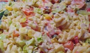 Salade de macaronis au jambon, fromage, carotte, oeufs, mayonnaise