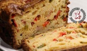 Cake aux tomates, à la mozzarella et au basilic