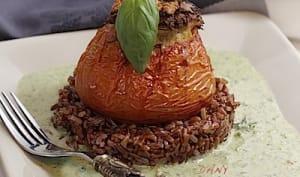 Tomates farcies riz rouge de Camargue et coulis de persil