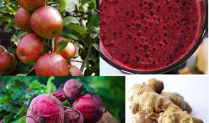 Jus de fruits frais santé aux pommes, gingembre et betteraves