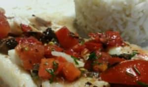 Rougets grillés aux olives et tomates