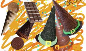 Dessert d'Halloween au chocolat en forme de chapeau de sorcière