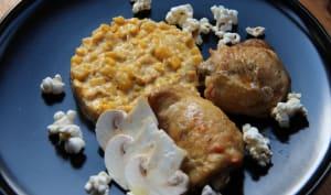 Volaille rôtie, crème de maïs et pop corn